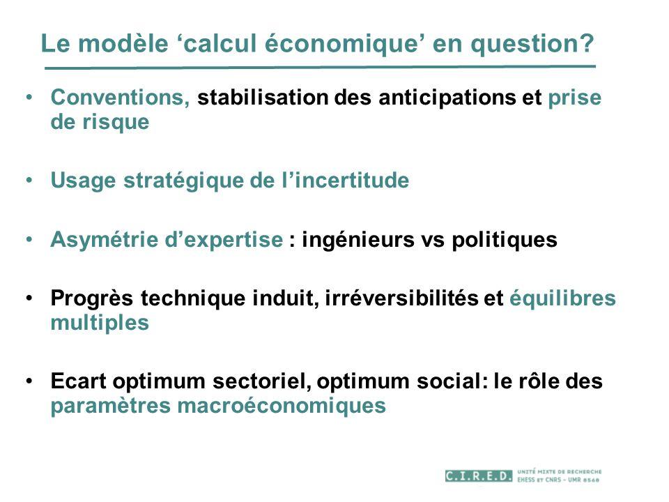 Le modèle 'calcul économique' en question