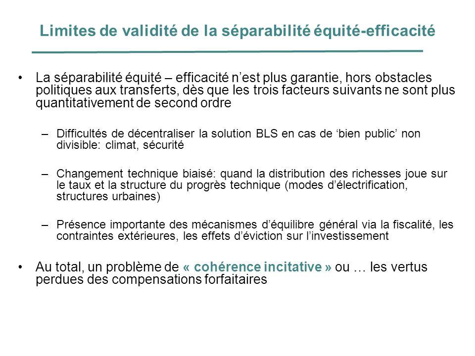 Limites de validité de la séparabilité équité-efficacité
