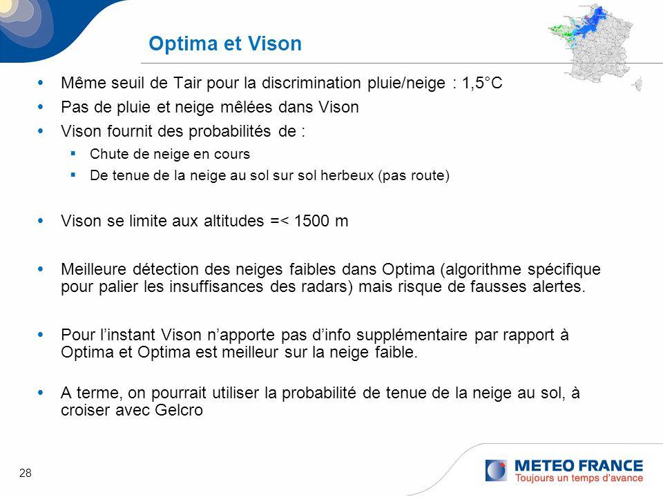 Optima et VisonMême seuil de Tair pour la discrimination pluie/neige : 1,5°C. Pas de pluie et neige mêlées dans Vison.