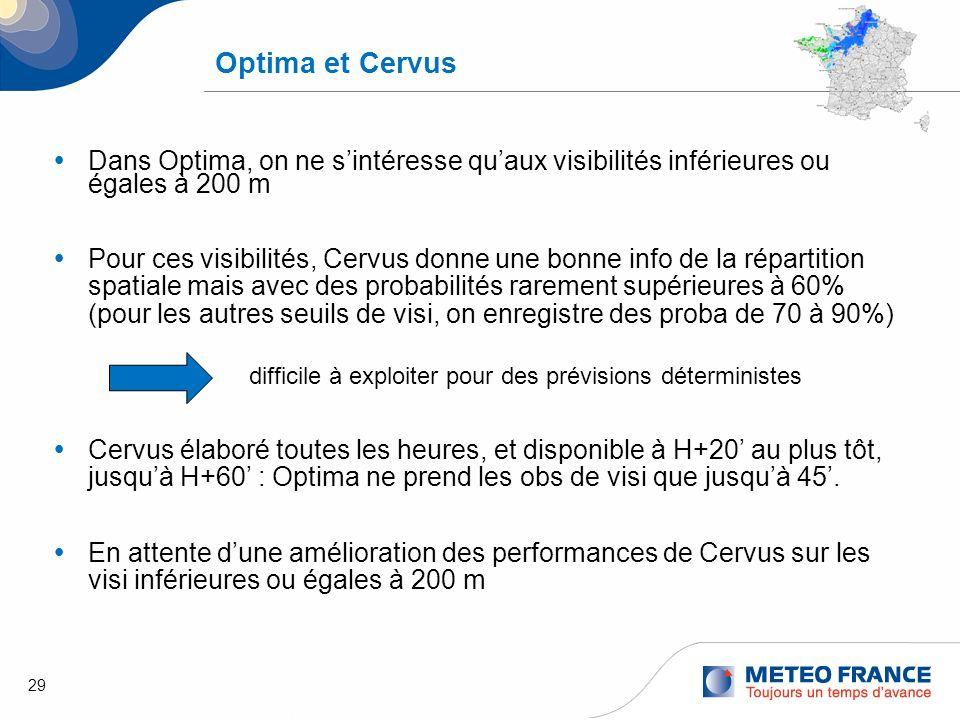 Optima et CervusDans Optima, on ne s'intéresse qu'aux visibilités inférieures ou égales à 200 m.