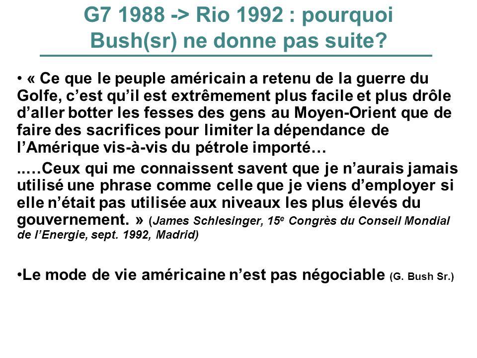 G7 1988 -> Rio 1992 : pourquoi Bush(sr) ne donne pas suite