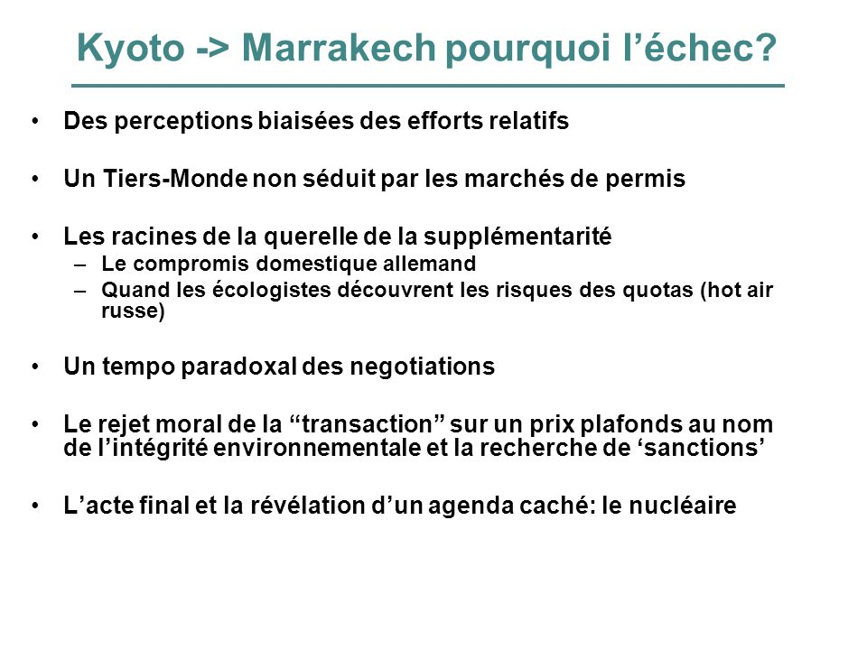 Kyoto -> Marrakech pourquoi l'échec