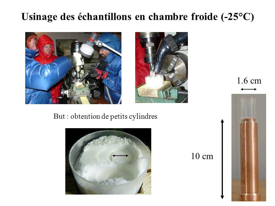 Usinage des échantillons en chambre froide (-25°C)