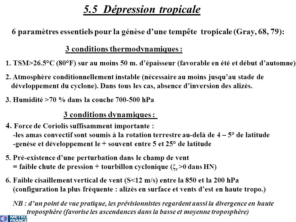 3 conditions thermodynamiques :