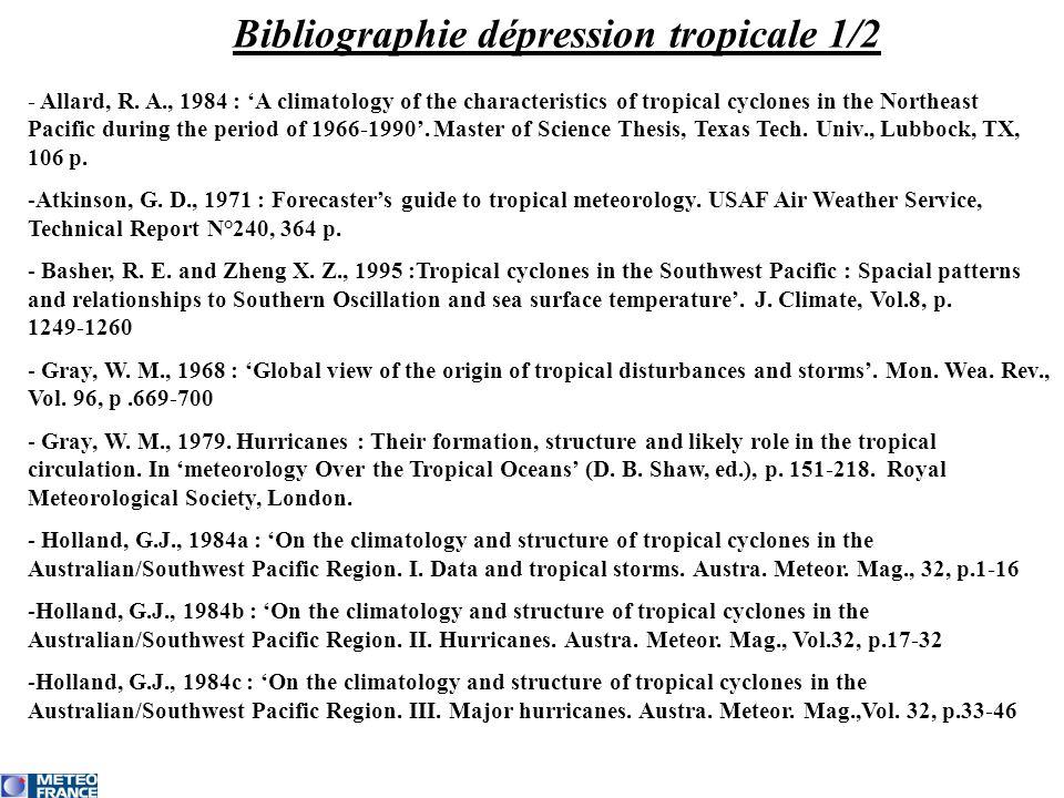 Bibliographie dépression tropicale 1/2