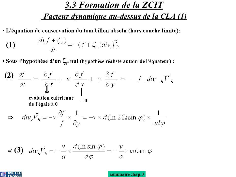 3.3 Formation de la ZCIT Facteur dynamique au-dessus de la CLA (1)