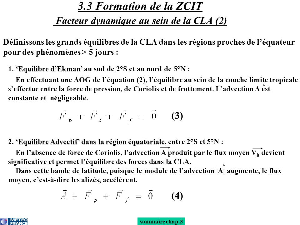 3.3 Formation de la ZCIT Facteur dynamique au sein de la CLA (2)