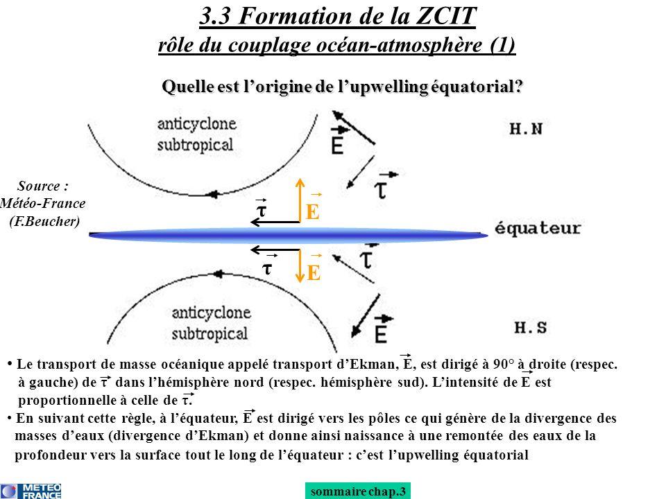 3.3 Formation de la ZCIT rôle du couplage océan-atmosphère (1)