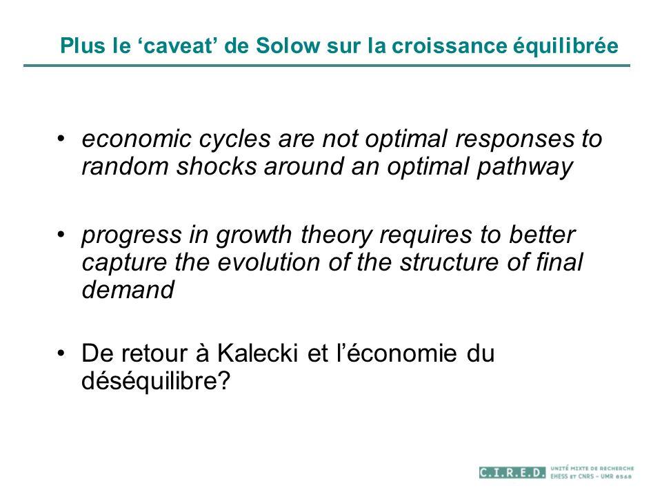 Plus le 'caveat' de Solow sur la croissance équilibrée