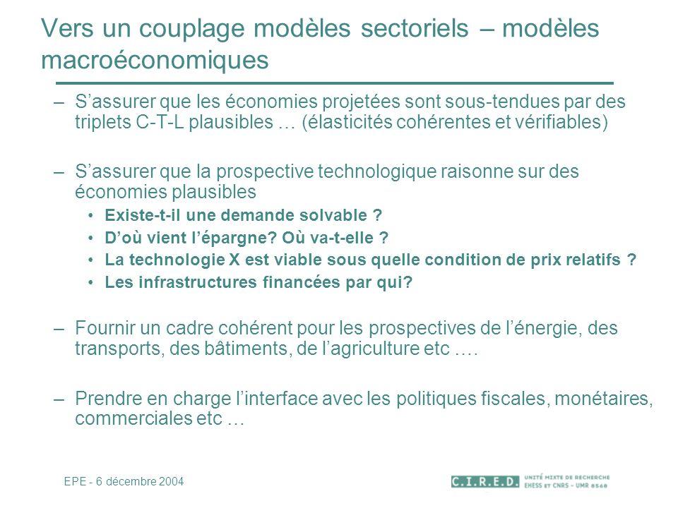 Vers un couplage modèles sectoriels – modèles macroéconomiques