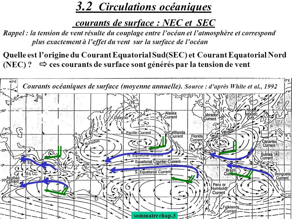 3.2 Circulations océaniques courants de surface : NEC et SEC