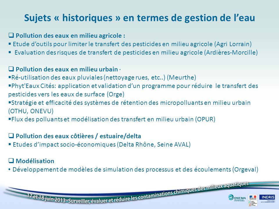 Sujets « historiques » en termes de gestion de l'eau