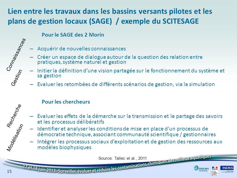 Lien entre les travaux dans les bassins versants pilotes et les plans de gestion locaux (SAGE) / exemple du SCITESAGE