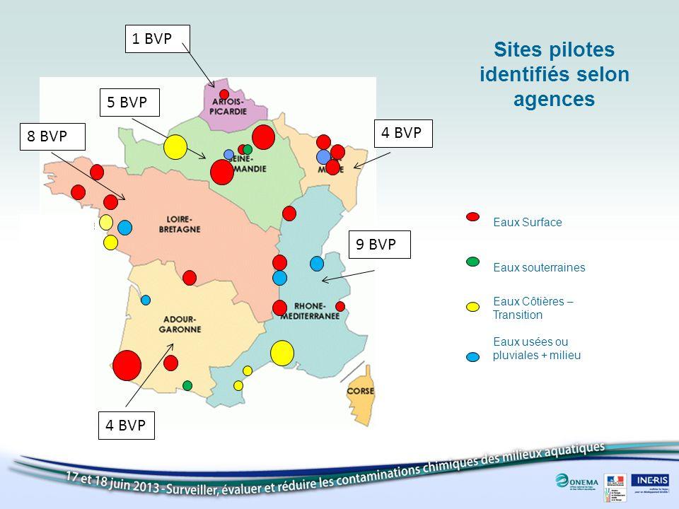 Sites pilotes identifiés selon agences