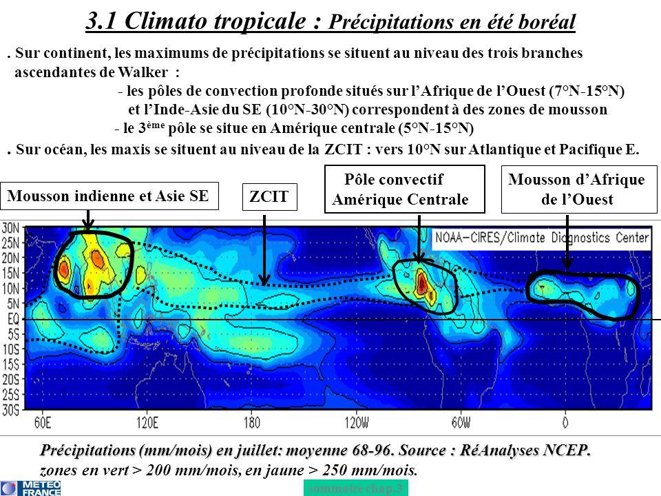 3.1 Climato tropicale : Précipitations en été boréal