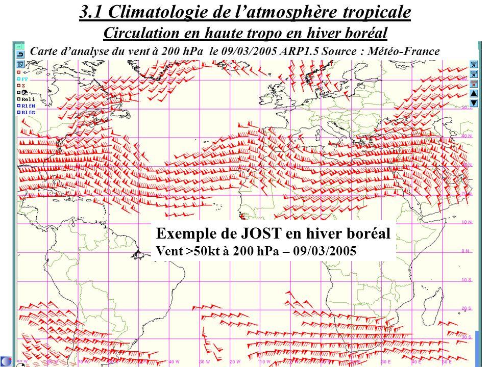3.1 Climatologie de l'atmosphère tropicale Circulation en haute tropo en hiver boréal