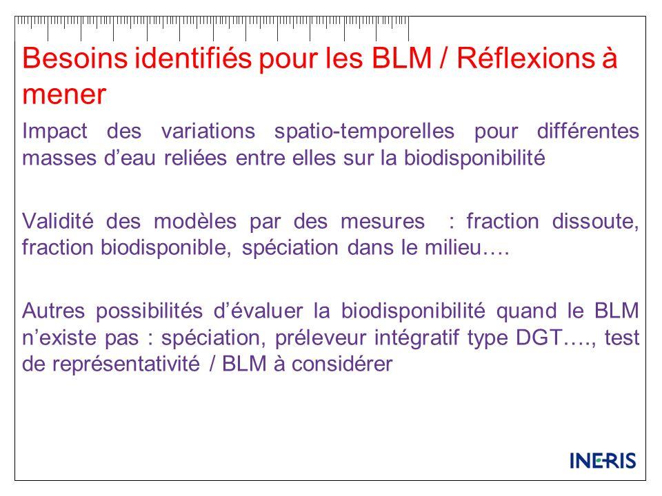 Besoins identifiés pour les BLM / Réflexions à mener