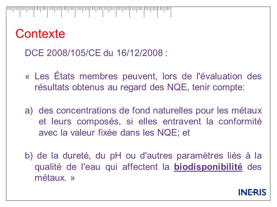 Contexte DCE 2008/105/CE du 16/12/2008 :