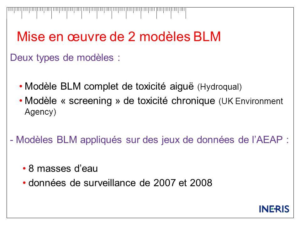 Mise en œuvre de 2 modèles BLM