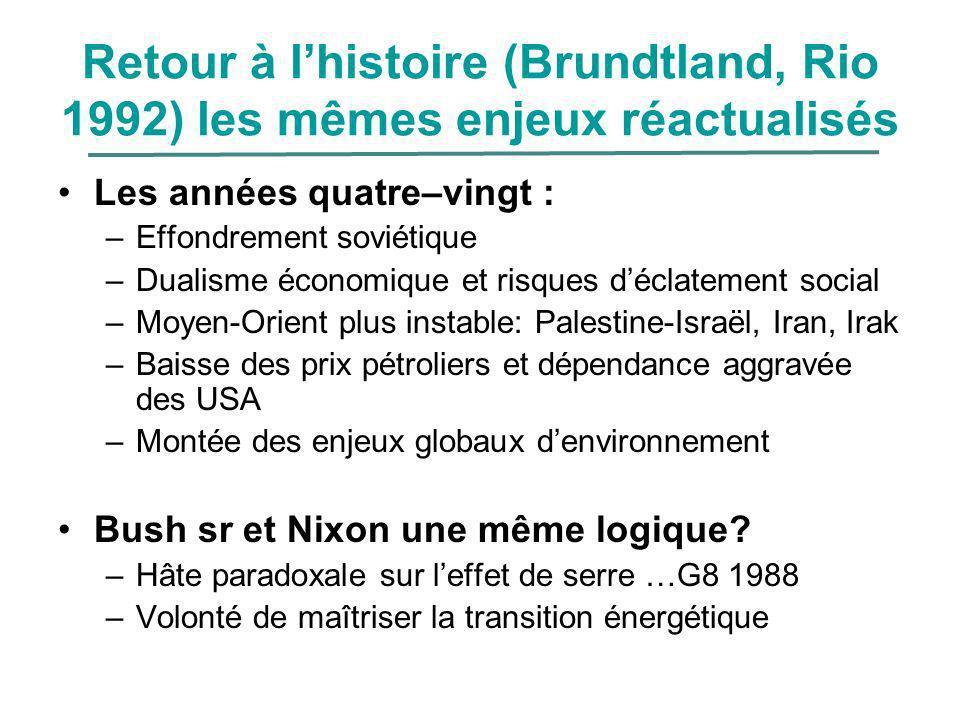 Retour à l'histoire (Brundtland, Rio 1992) les mêmes enjeux réactualisés