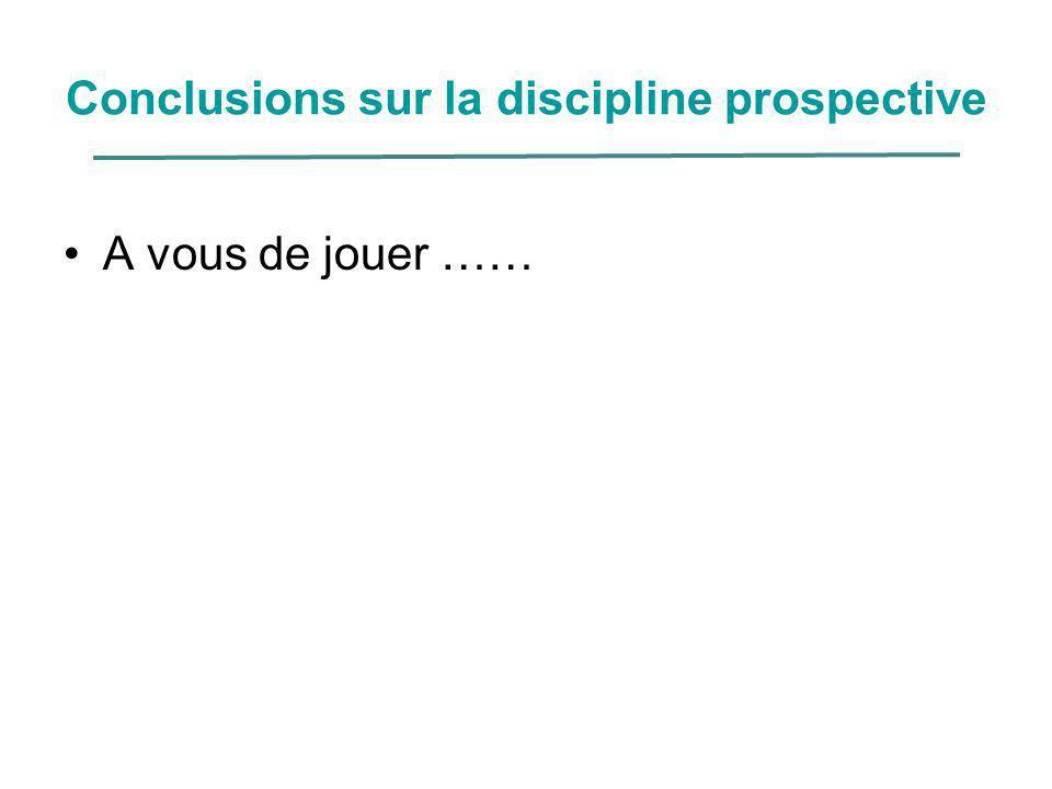 Conclusions sur la discipline prospective