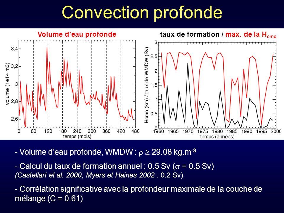 Convection profonde Volume d'eau profonde, WMDW :   29.08 kg.m-3