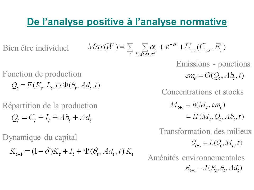 De l'analyse positive à l'analyse normative