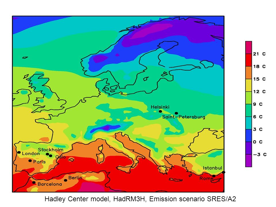Hadley Center model, HadRM3H, Emission scenario SRES/A2
