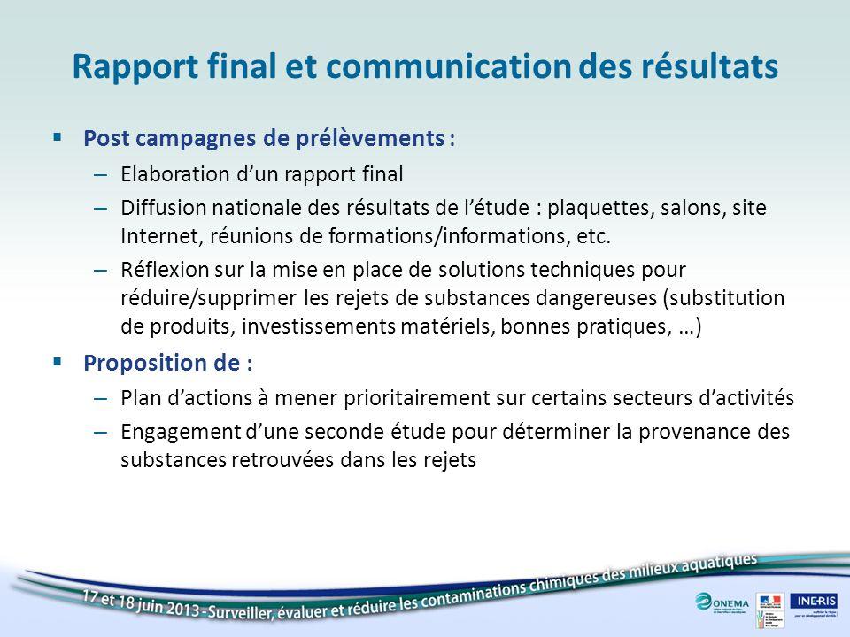 Rapport final et communication des résultats