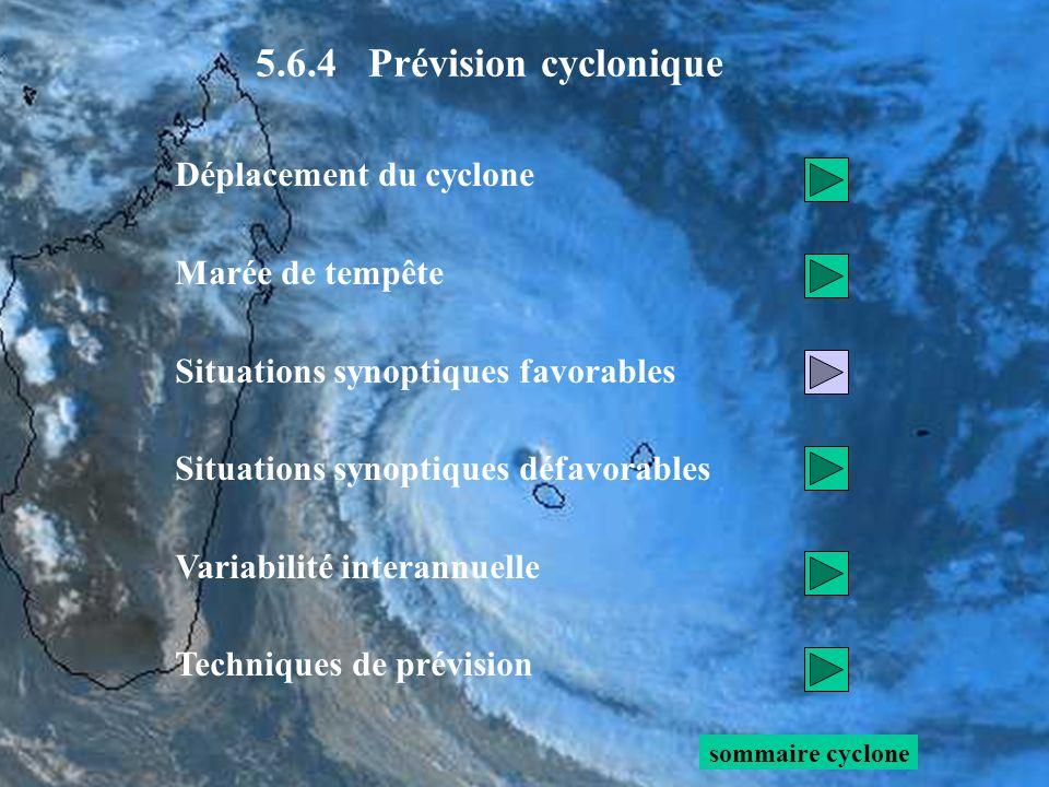 5.6.4 Prévision cyclonique Déplacement du cyclone Marée de tempête