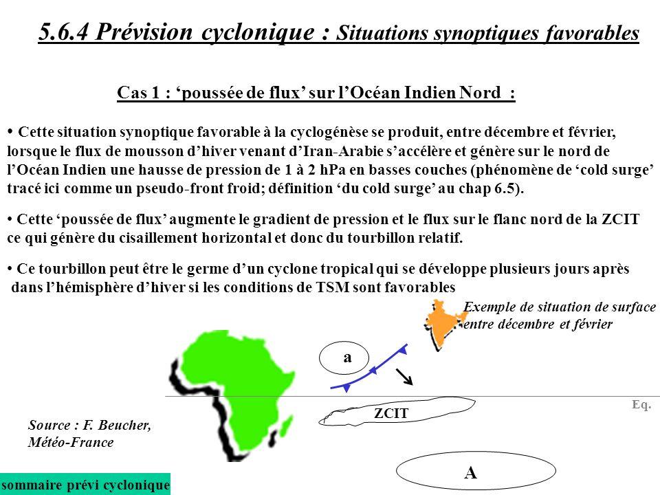 5.6.4 Prévision cyclonique : Situations synoptiques favorables
