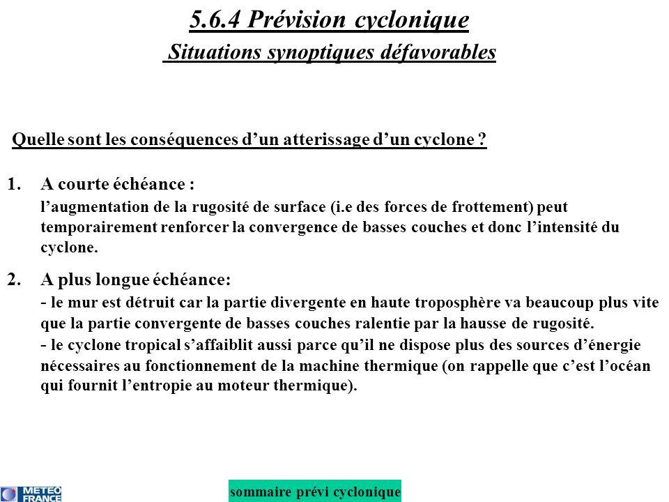 5.6.4 Prévision cyclonique Situations synoptiques défavorables