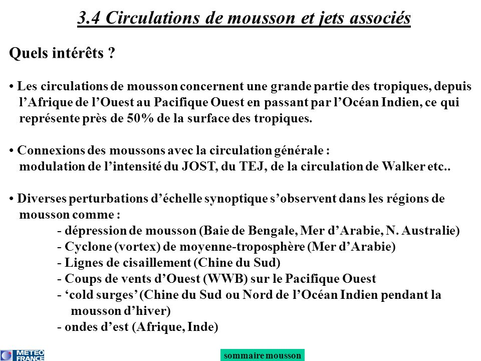 3.4 Circulations de mousson et jets associés