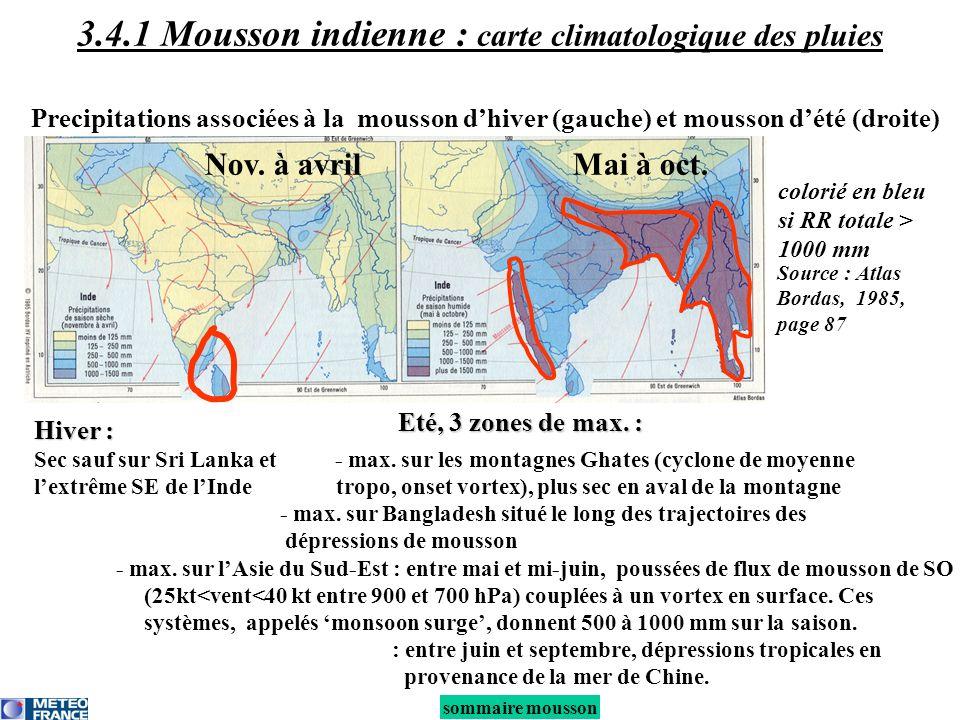 3.4.1 Mousson indienne : carte climatologique des pluies