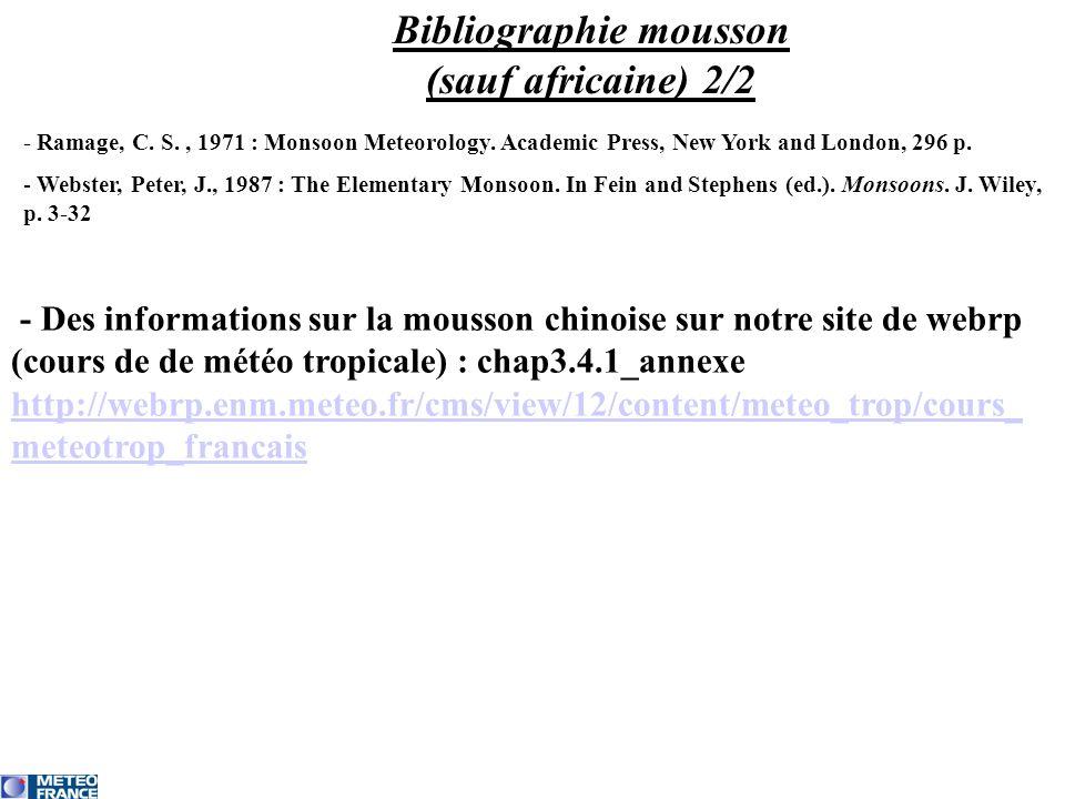 Bibliographie mousson (sauf africaine) 2/2