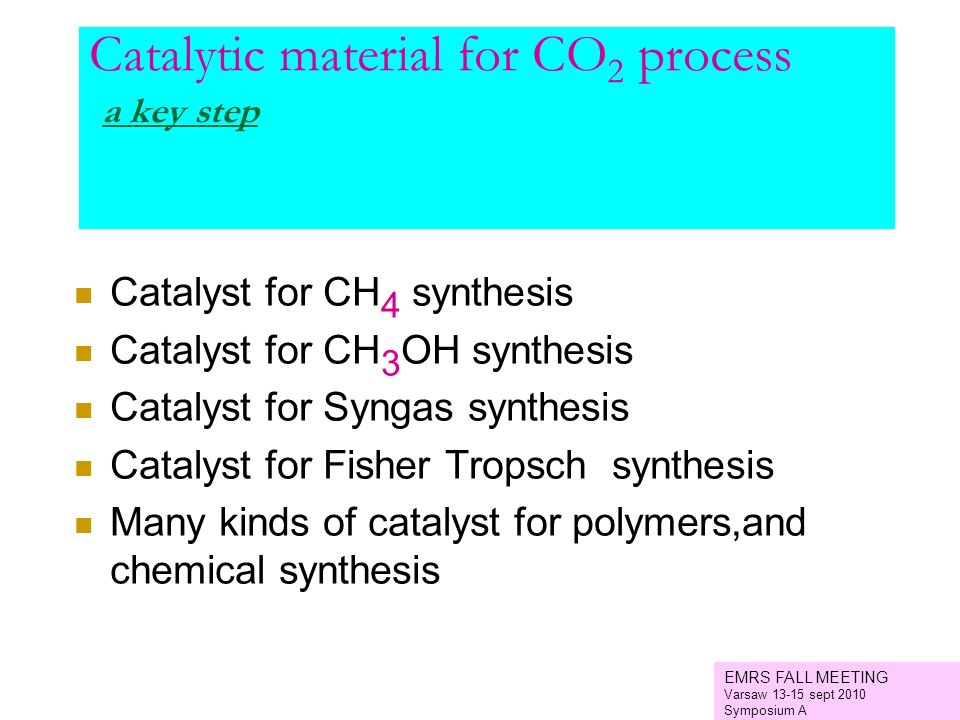 Catalytic material for CO2 process a key step