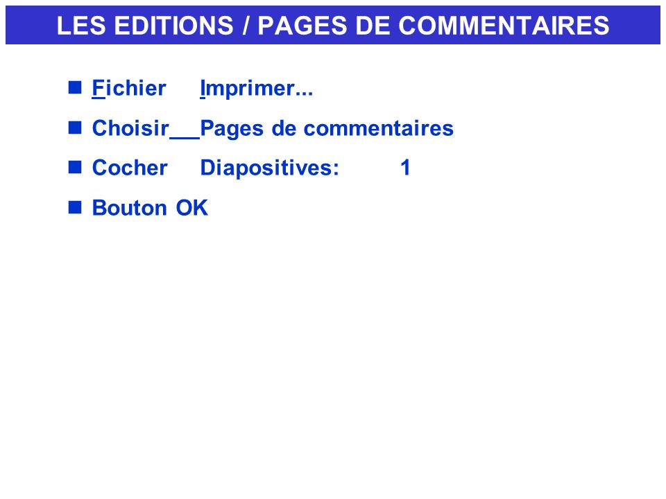 LES EDITIONS / PAGES DE COMMENTAIRES