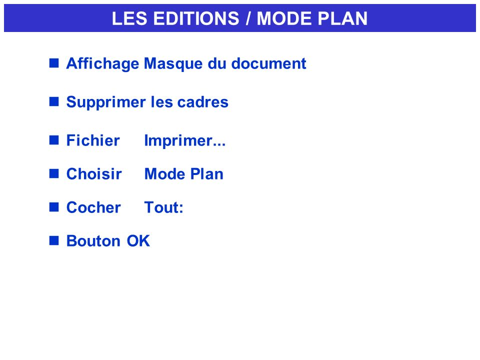 LES EDITIONS / MODE PLAN