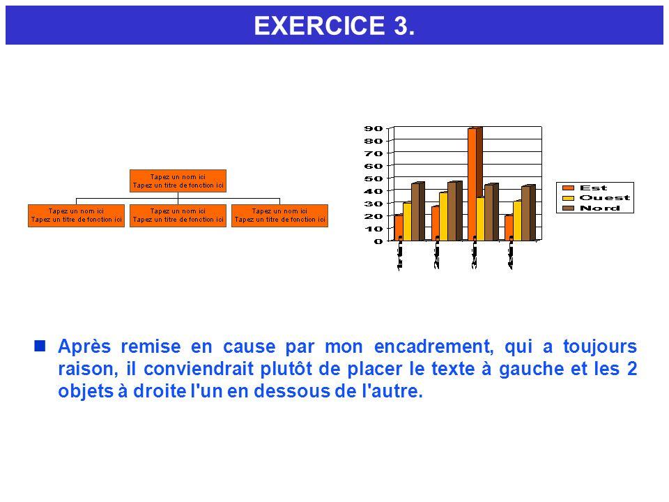 EXERCICE 3. MISE EN PAGE TEXTE ET 2 OBJETS. Faire l exercice directement sur cette diapo. 1. Menu Format Sous menu Mise en page de diapositive.