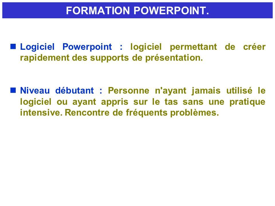 FORMATION POWERPOINT. Logiciel Powerpoint : logiciel permettant de créer rapidement des supports de présentation.