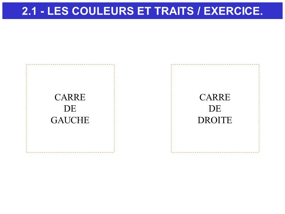 2.1 - LES COULEURS ET TRAITS / EXERCICE.