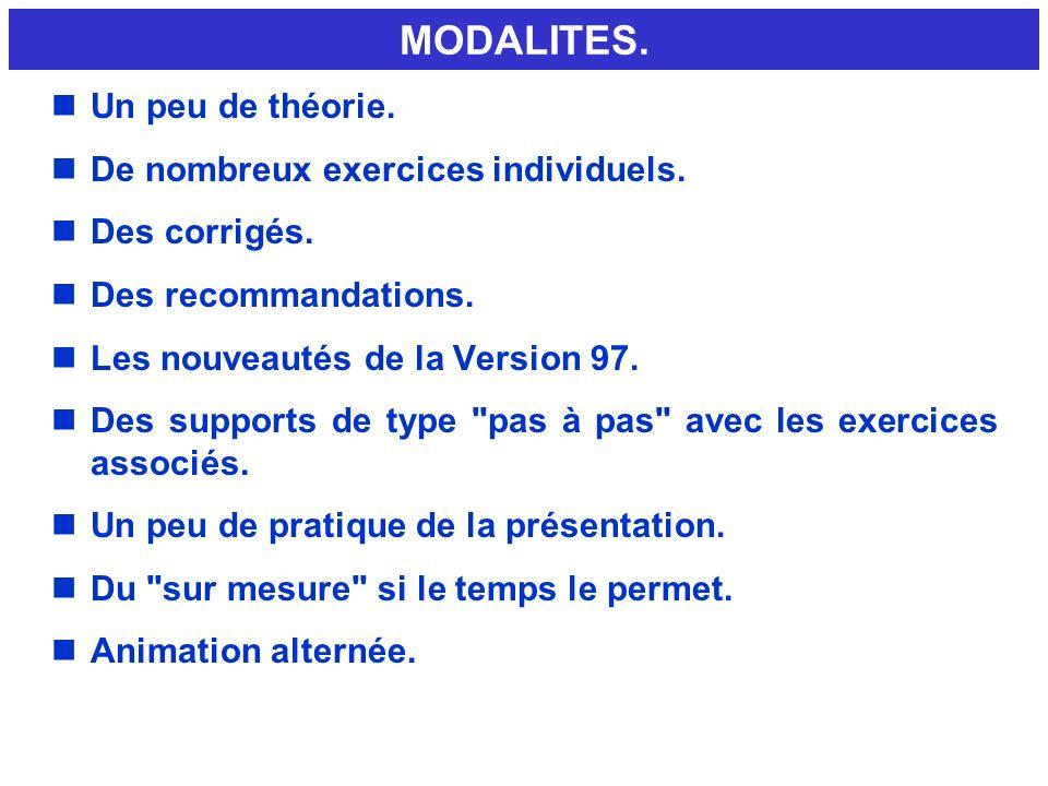 MODALITES. Un peu de théorie. De nombreux exercices individuels.