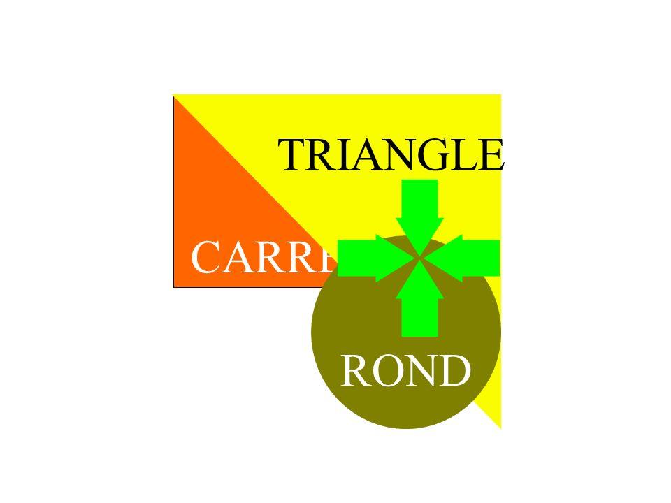 TRIANGLE CARRE ROND TRANSITION DECOUVRIR. PREMIER PLAN / ARRIERE PLAN