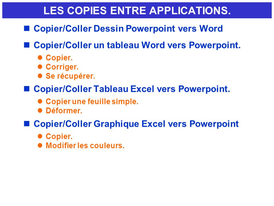 LES COPIES ENTRE APPLICATIONS.