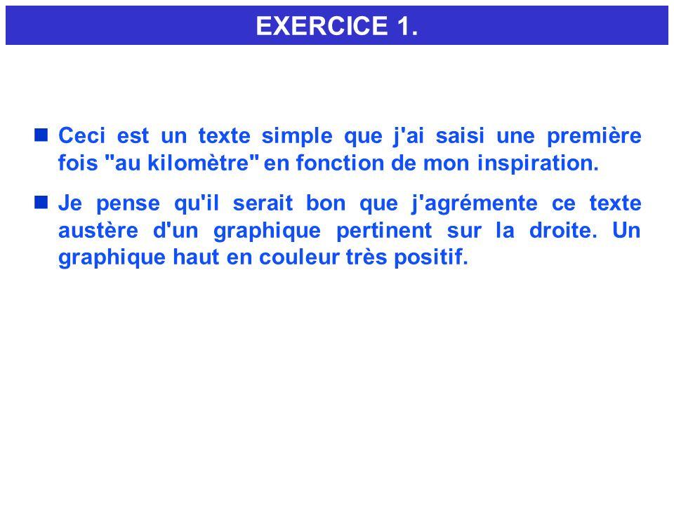 EXERCICE 1. Ceci est un texte simple que j ai saisi une première fois au kilomètre en fonction de mon inspiration.