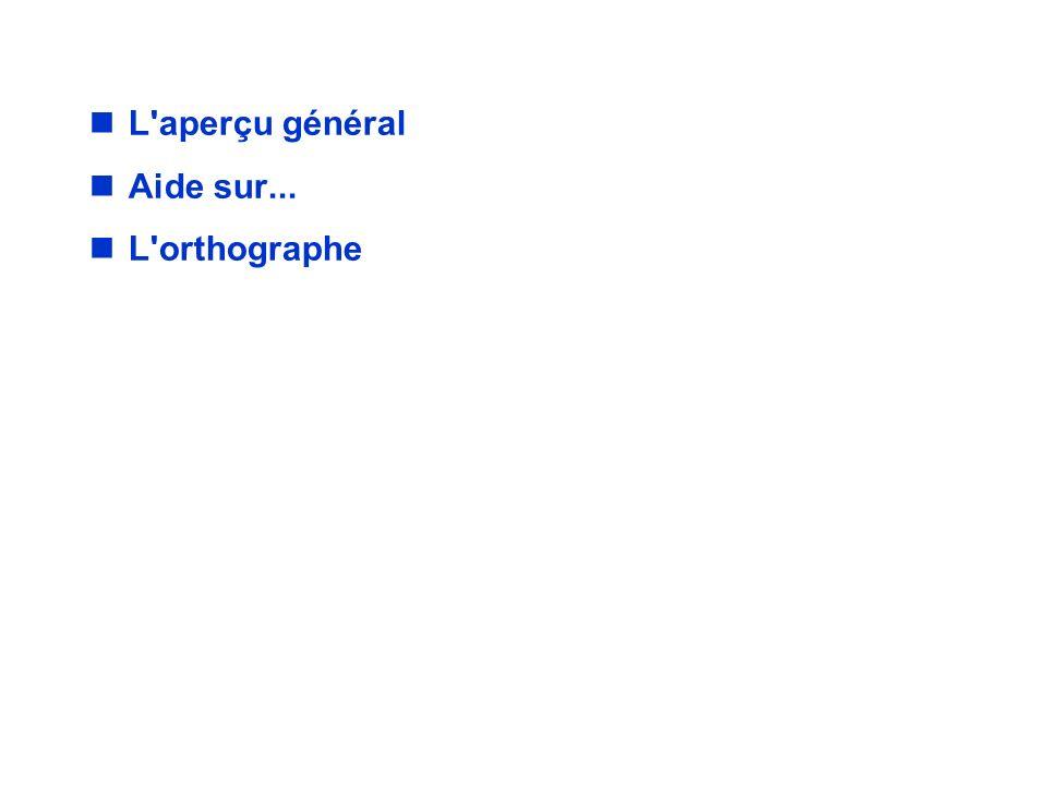 AIDE EN LIGNE / Menu L aperçu général Aide sur... L orthographe