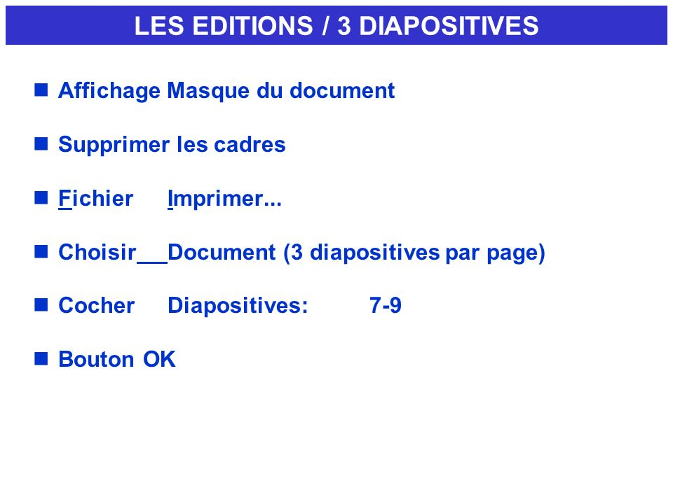 LES EDITIONS / 3 DIAPOSITIVES