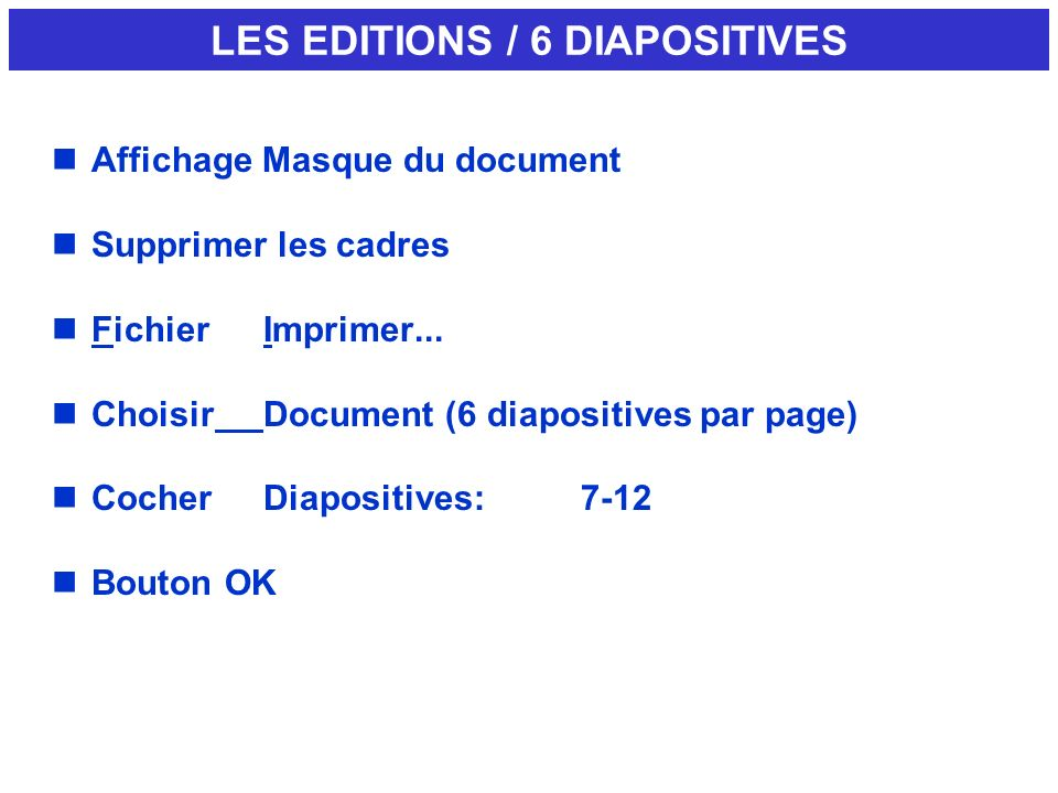 LES EDITIONS / 6 DIAPOSITIVES