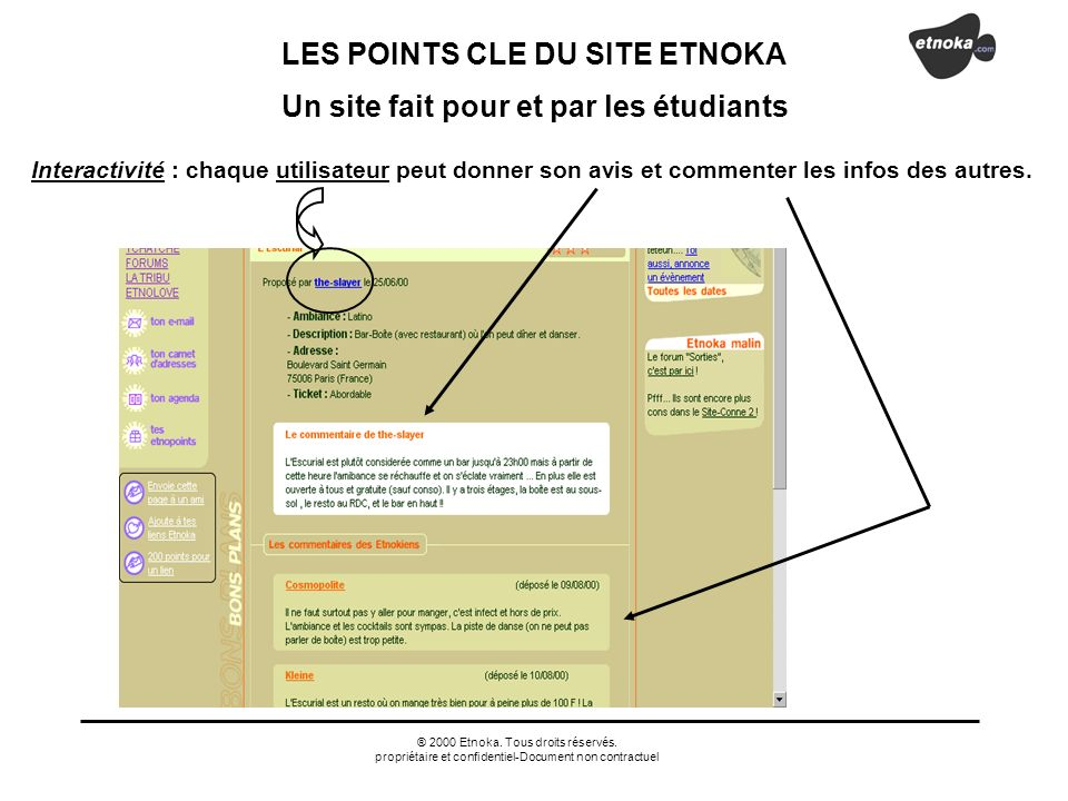 LES POINTS CLE DU SITE ETNOKA