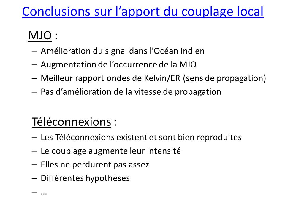 Conclusions sur l'apport du couplage local